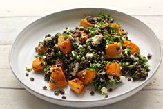 Roasted Butternut Squash and Puy Lentil warm salad - Dale Pinnock Warm Salad Recipes, Salad Recipes For Dinner, Veggie Recipes, Healthy Recipes, Pumpkin And Beetroot Salad, Puy Lentil Salad, Bacon Dishes, Squash Salad, Salad With Sweet Potato