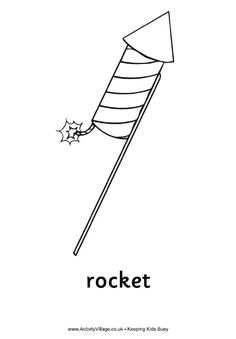 Rocket colouring page with word underneath