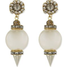 ERICKSON BEAMON Pearl stones drop earrings (4.449.625 IDR) ❤ liked on Polyvore featuring jewelry, earrings, pearl, white pearl earrings, white pearl drop earrings, polish jewelry, spike earrings and erickson beamon jewelry