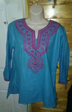 Very nice tunic top. Color brand boho peasant style, split neck. Teal. Size large. In excellent preowned condition. | eBay!