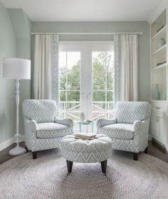 "Digs Design Company - Portfolio. Seating area in a Master bedroom. Sherwin Williams ""Sea Salt"". Lovely color. Neutral. But yet it speaks of the sea."