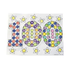 Color Your Own 100th Day of School Dot Marker Activity Sheets - OrientalTrading.com