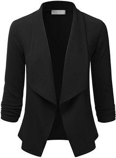 EIMIN Women's Lightweight Stretch 3/4 Sleeve Blazer Open Front Jacket Black 2XL at Amazon Women's Clothing store