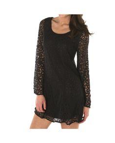 Women's Lace Bell Sleeve Dress - Black