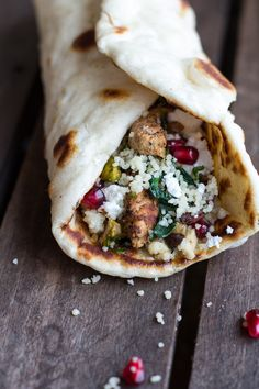 {Chicken, couscous and goat cheese wrap.}