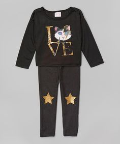 Loving this Black 'Love' Cat Top & Star Leggings - Infant & Girls on #zulily! #zulilyfinds