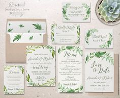 Printable greenery wedding invitation suite green wedding in Green Wedding Invitations, Watercolor Wedding Invitations, Printable Wedding Invitations, Wedding Stationary, Diy Invitations, Kraft Paper Wedding, Wedding Cards, Wedding Prep, Wedding Blog
