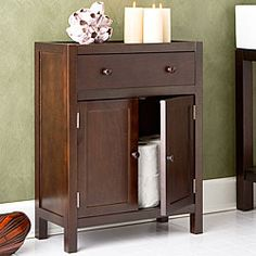 @Overstock - Elegant Fredericksburg bathroom cabinet is decorative and functional   Furniture features a deep espresso finish for a warm atmosphere   Beautifully crafted and styled, this cabinet is ideal for any home decorhttp://www.overstock.com/Home-Garden/Fredericksburg-Espresso-Storage-Cabinet/3314073/product.html?CID=214117 $112.49