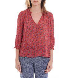 Blouse voile imprimé floral See U Soon en rouge   achetez votre blouse voile  imprimé floral 0a6bd7c96a4
