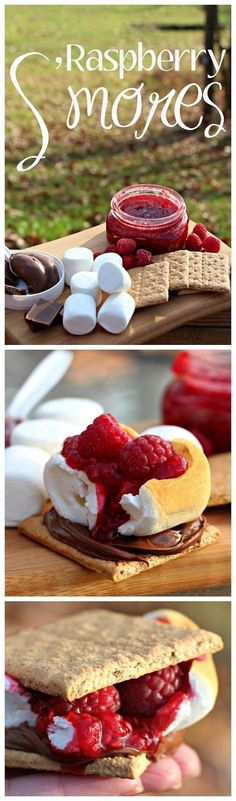 Family glamping weekend - grilled pizza and raspberry s'mores camping desserts, camping food Camping Desserts, Köstliche Desserts, Camping Meals, Dessert Recipes, Camping Recipes, Camping Tips, Camping Drinks, Backpacking Meals, Kayak Camping