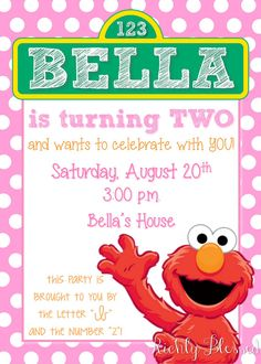 Girl Elmo Birthday Party Invitation WHAT YOU ARE PURCHASING: - 5x7 or 4x6 Girl Elmo Party Printable Invitation. You will choose your size when you add the listing to your cart. - File will be sent to your ETSY EMAIL for you to print. No items will be shipped. - You will receive a