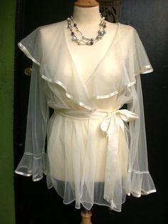 Vintage White Chiffon and Ribbon Wrap Cinema Bell Sleeved Sheer Boudoir Robe.