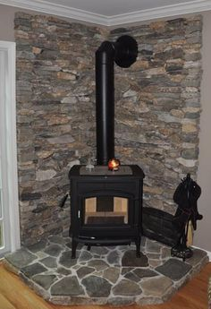 Take out boring fireplace and replace it with our wood burning stove. I've always wanted a wood burning stove! Wood Stove Wall, Wood Burning Stove Corner, Wood Stove Surround, Wood Stove Hearth, Stove Fireplace, Corner Stove, Wood Fireplace, Wall Wood, Wood Walls