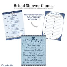 Bridal Shower Games - Bridal Shower Game - What's In Your Phone - Put A Ring On It - Wedding A to Z - Denim and Diamonds - Printable