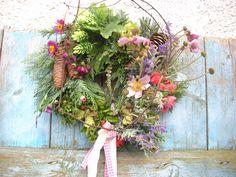 Türkranz  Schaufensterdeko Landhaus Kranz Buchskranz  29cm Herbst Zypresse Rosen bei ebaydeko*de*france zu kaufen für 15,90€