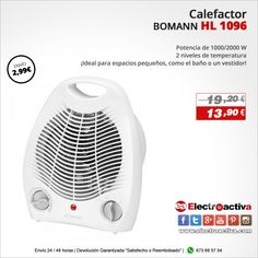 ¡Ideal para espacios pequeños, como el baño o un vestidor! Calefactor BOMANN HL 1096 http://www.electroactiva.com/bomann-calefactor-hl-1096.html #Elmejorprecio #Calefactor #Chollo #Electrodomestico #PymesUnidas