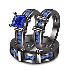 3.00 ct Blue Sapphire Trio Three Bridal Matching Wedding His & Her Ring Band Set in Jewelry & Watches   eBay