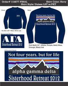 Alpha Gamma Delta *Sisterhood Retreat*  www.greekt-shirtsthatrock.com