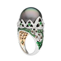 """Venezia """"Doge Palace Reflection"""" green ring in white and rose gold, with Tahitian pearl, tsavorite garnets and diamonds by Autore"""