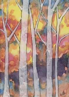 Tree Line 84, watercolor on paper, matted, 5x7