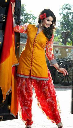 $79.3 Yellow and Red Printed Cotton Punjabi Salwar Suit 25588