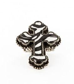 Black Printed Cross Stretch Ring