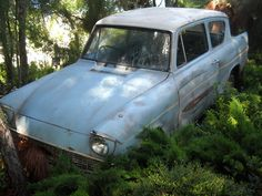 The Weasley's Ford Anglia; The Enchanted Car ~ Harry Potter and the Chamber of Secrets Harry Potter Flying Car, Harry Potter Car, Harry Potter Universal, Ron And Harry, Ford Anglia, Yer A Wizard Harry, Ron Weasley, Hogwarts, Dream Cars