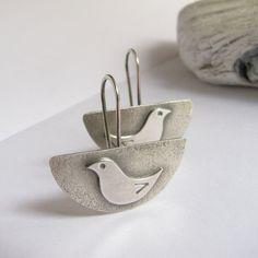 Argentium Earrings Sterling Silver Bird Earrings by Mocahete