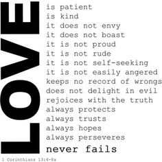 Charity is the pure Love of Christ. Charity=Love. Love never fails-How we should treat ALL PEOPLE!