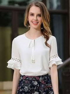 Women's White Blouse Round Neck Half Sleeve Lace Up Casual Top Blouse Styles, Blouse Designs, Sleeves Designs For Dresses, Mode Hijab, Blouse Dress, Blouse Neck, Trendy Tops, Designer Dresses, Fashion Dresses