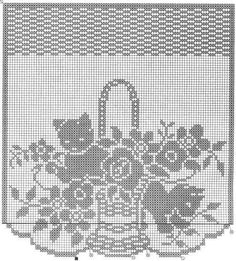 Kittens and flowers. Beautiful filet crochet chart that would make a nice window hanging. Chat Crochet, Crochet Art, Crochet Home, Vintage Crochet, Crochet Doilies, Filet Crochet Charts, Crochet Diagram, Crochet Stitches, Crochet Curtain Pattern