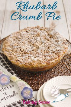 Rhubarb Crumb Pie is bursting with fresh rhubarb. The filling has a tart-sweet flavor and beautiful pink color. The pie is finished with a crumb topping made with brown sugar and oats. Rhubarb Custard Pies, Rhubarb Bread, Rhubarb Desserts, Rhubarb Recipes, Pie Crumble, Crumble Topping, Pie Crumbs Recipe, Brown Sugar Pie, Fresh