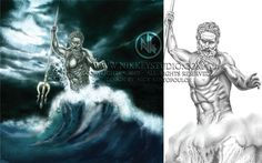 Poseidon colored version mixed media Digital print by NikkeyStudio