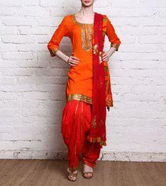 Orange Malmal Patiala Salwar Kameez With Gota Work