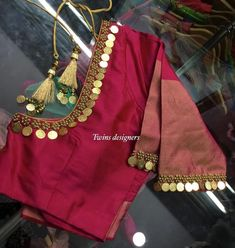 Beautiful Kasu Work Neck Design For Blouse With Normal Stitching Needle-Same like Aari/Maggam work Kids Blouse Designs, Simple Blouse Designs, Stylish Blouse Design, Blouse Neck Designs, Hand Designs, Dress Designs, Blouse Styles, Simple Designs, Wedding Saree Blouse Designs