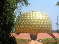 The Matrimandir (Sanskrit for Temple of The Mother) is an edifice of spiritual significance for practitioners of Integral yoga, situated at the centre of Auroville initiated by The Mother of the Sri Aurobindo Ashram. It is called soul of the city and is situated in a large open space called Peace. Matrimandir, does not belong to any particular religion or sect.