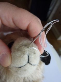 Attaching polymer clay nose to needle felted face TUTORIAL. by KALEideaSCOPE: Bear in Mind