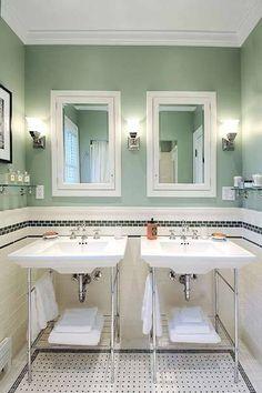 Bathroom, White Combine Dark Blue Colored Design Vintage Tile For Bathroom Design Patterns Also Combine Double Sink Design Ideas: Looking for Some Designs of Vintage Bathroom Tile Patterns Upstairs Bathrooms, Vintage Bathrooms, Bathroom Renos, Small Bathroom, Bathroom Remodeling, Bathroom Wall, Remodeling Ideas, Wooden Bathroom, White Bathroom
