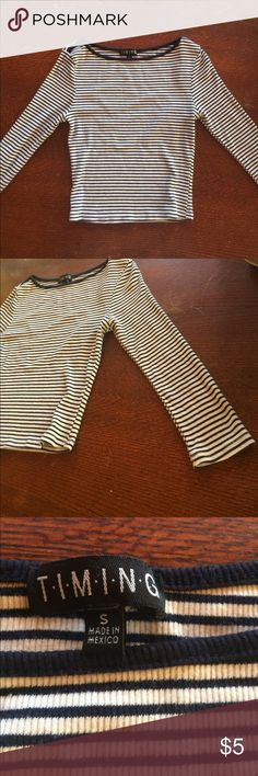 Black and White Crop Top Black and white striped crop top with long sleeves Tops Crop Tops