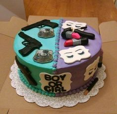 Lipstick & Lashes or Guns & Badges Police Gender Reveal Cake