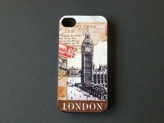 Rubber iPhone 4 Case  Vintage London Postcard by CreateItYourWay