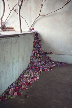 Abandoned House Filled with Flowers - Lisa Waud Art Project