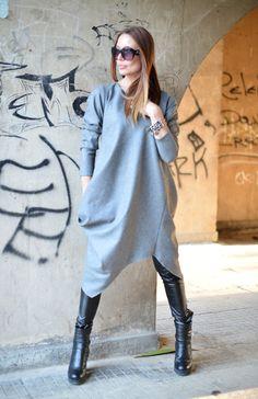 XXL,XXXL Maxi Dress / Extravagant Long Dress / Daywear Dress / Grey wool Cashmere Dress / Grey Asymmetrical Kaftan /  by EUGfashion