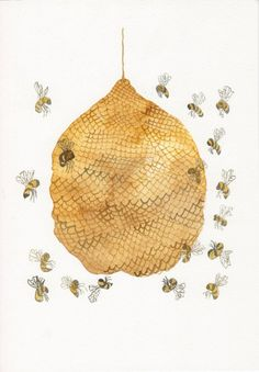 Honey Bee Hive No. 3 - Original watercolor painting via Etsy