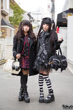 tokyo-fashion:Eluza and Morino Ringo on the street in Harajuku wearing twin tails hairstyle and fashion by h. Full Looks Japanese Street Fashion, Tokyo Fashion, Harajuku Fashion, Kawaii Fashion, Lolita Fashion, Gothic Fashion, India Fashion, Grunge Goth, Nu Goth