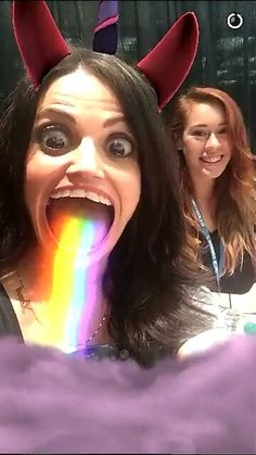 Lana Parrilla with the snapchat unicorn filter. Lol