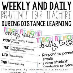 Weekly and Daily Routines for Teachers During Distance Learning Kindergarten Routines, Welcome To Kindergarten, Classroom Routines, Daily Routines, Parent Welcome Letter, Phonics Lessons, French Language Learning, Learning Spanish, Learning Support
