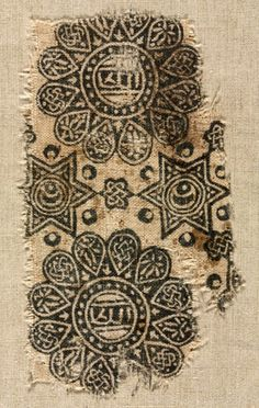 Fragment of a Wood-Block Print- block printing on linen tabby ground. Notes-probably copied fom a patterned silk. Textile Patterns, Textile Prints, Textile Art, Print Patterns, Medieval, Art Chinois, Century Textiles, Cleveland Museum Of Art, Art Japonais