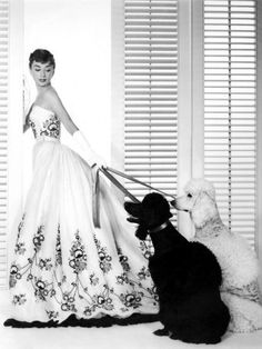 Audrey Hepburn: Givenchy black and white wedding gown (two dogs).