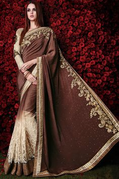 Coffee and Cream Embroidered Party Wear Saree